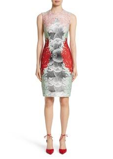 Yigal Azrouel Yigal Azrouël Coral Print Scuba Sheath Dress