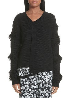 Yigal Azrouel Yigal Azrouël Fringe Sleeve Mixed Media Wool Sweater