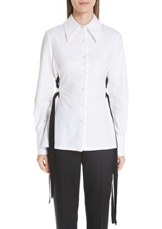 Yigal Azrouel Yigal Azrouël Lace-Up Stripe Cotton Shirt