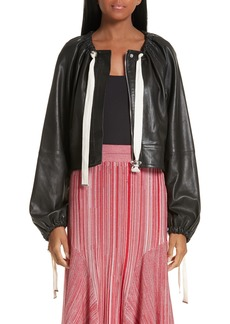 Yigal Azrouel Yigal Azrouël Ruched Neck Leather Jacket