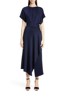 Yigal Azrouel Yigal Azrouël Shirred Waist Asymmetrical Jersey Midi Dress