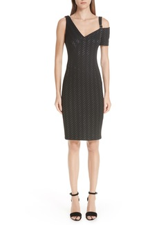 Yigal Azrouel Yigal Azrouël Stretch Weave Stripe Cold Shoulder Dress