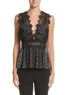 Yigal Azrouel Yigal Azrouël Studded Coral Embroidered Pleated Top