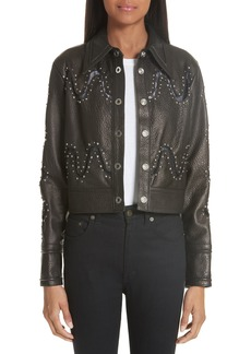 Yigal Azrouel Yigal Azrouël Studded Lace Inset Leather Jacket
