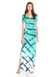 Young Fabulous & Broke Women's Benlety Short Sleeve V-Neck Diamond Ombre Maxi Dress