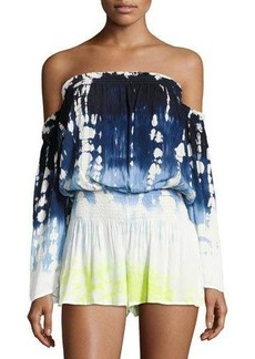 Young Fabulous & Broke Young Fabulous and Broke Estelle Tie-Dye Ombré Off-the-Shoulder Romper