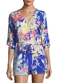 Yumi Kim Floral-Print V-Neck Self-Tie Romper
