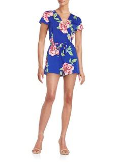 Yumi Kim Paradise Floral-Print Faux-Wrap Short Jumpsuit