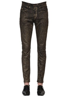 Yves Saint Laurent 15.5cm Skinny Striped Cotton Denim Jeans
