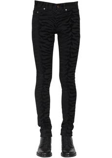 Yves Saint Laurent 15cm Zebra Skinny Cotton Denim Jeans