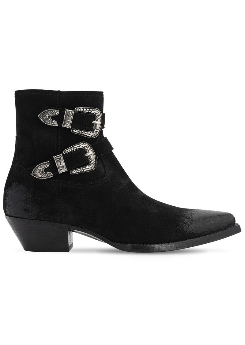 Yves Saint Laurent 40mm Double Buckle Leather Boots