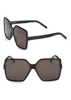 Yves Saint Laurent 63MM New Wave Betty Square Sunglasses