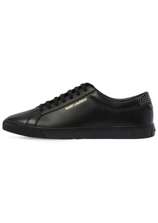 Yves Saint Laurent Andy Leather Low Top Studded Sneakers