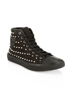 Yves Saint Laurent Bedford Studded Denim High-Top Sneakers