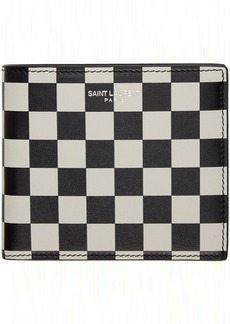 Yves Saint Laurent Black & Off-White Checkered East/West Wallet