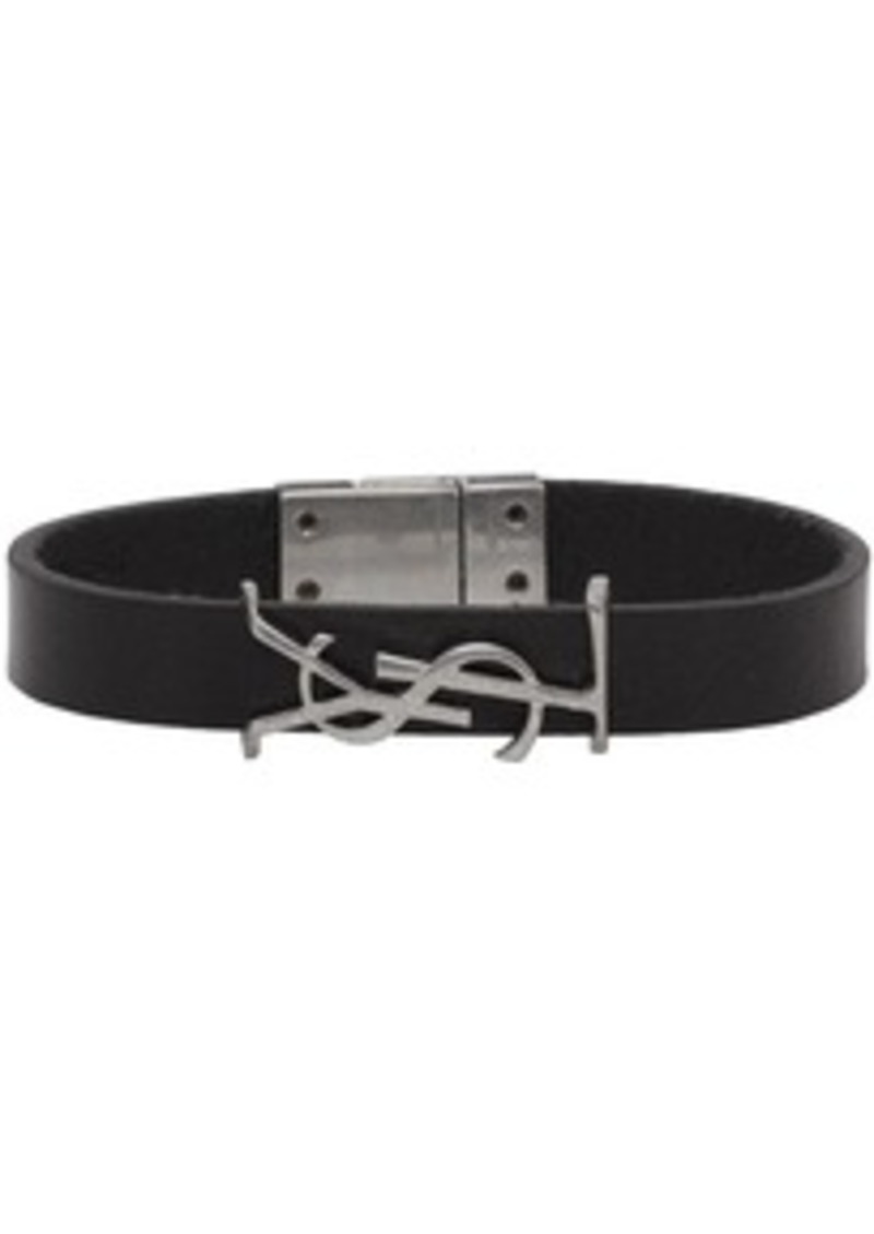 Yves Saint Laurent Black & Silver Leather Opyum Bracelet