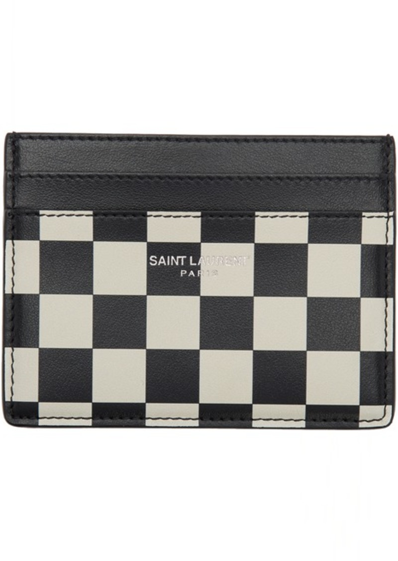 Yves Saint Laurent Black & White Checkered Card Holder