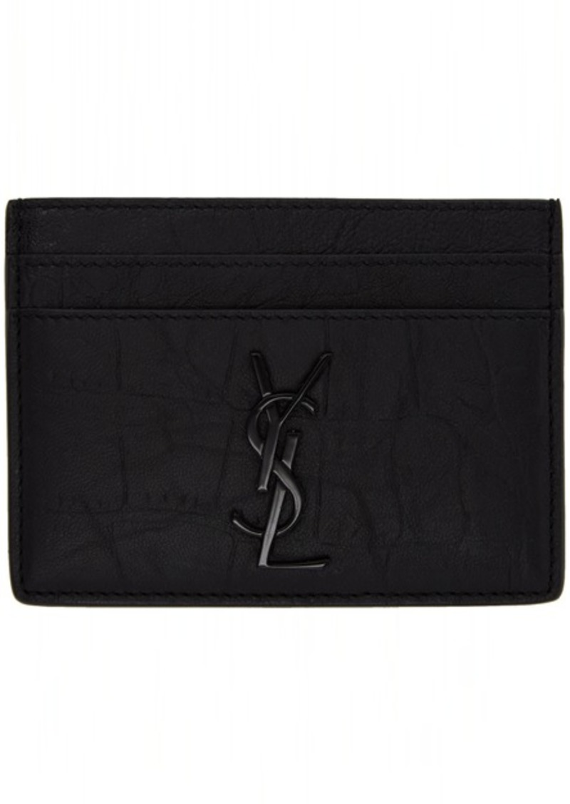 Yves Saint Laurent Black Croc Monogramme Card Holder