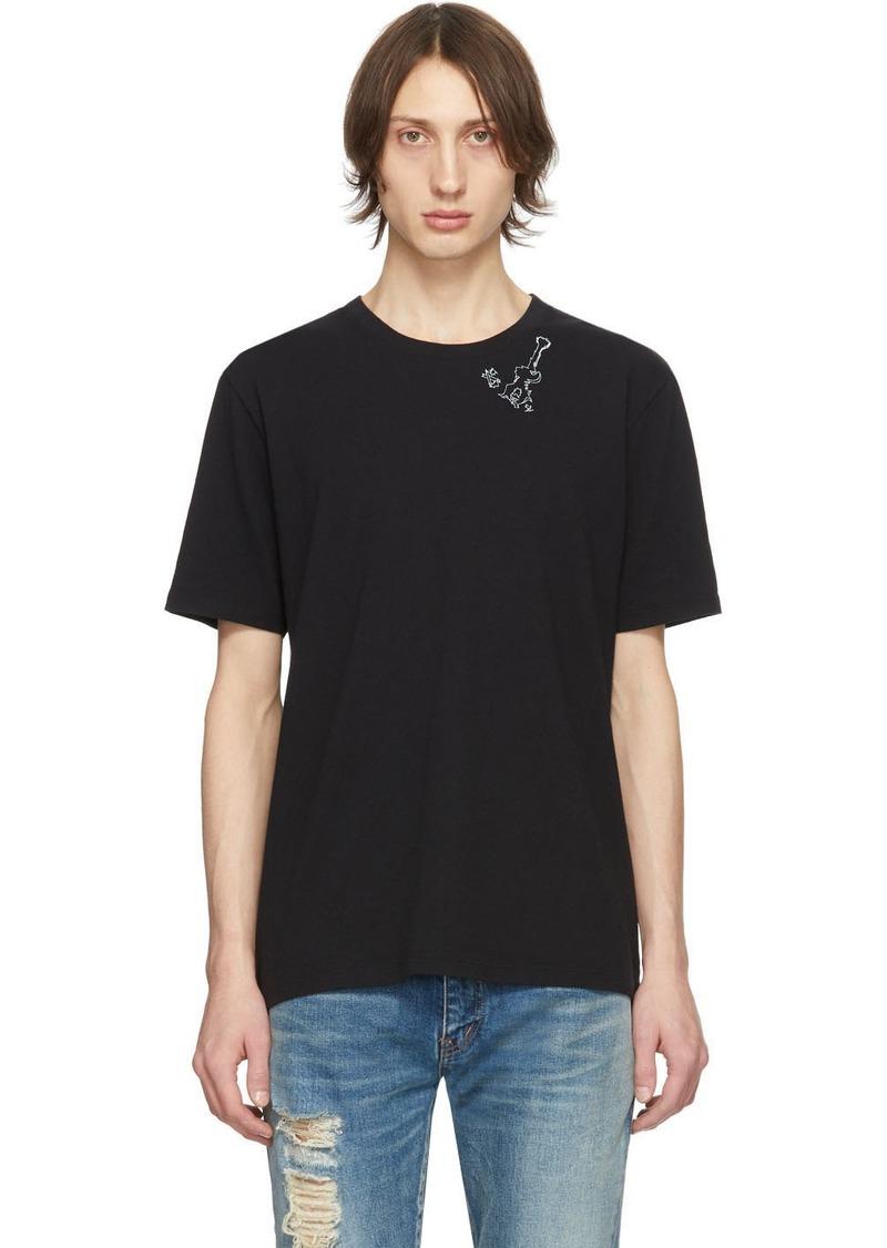 Yves Saint Laurent Black Guitar Print T-Shirt