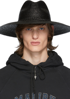Yves Saint Laurent Black Large Straw Hat