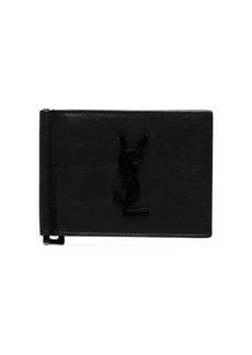 Yves Saint Laurent black leather money clip wallet