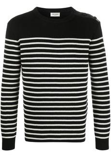 Yves Saint Laurent buttoned-shoulder striped jumper