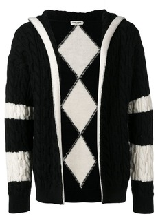 Yves Saint Laurent cable knit hooded cardigan