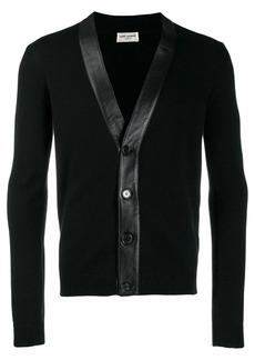Yves Saint Laurent cashmere leather panelled cardigan