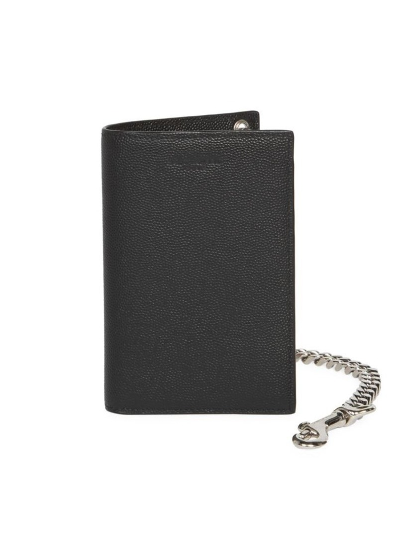 Yves Saint Laurent Chain Bi-Fold Pebbled Leather Wallet