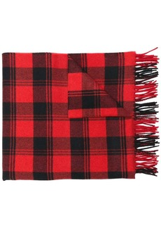 Yves Saint Laurent checked fringed scarf