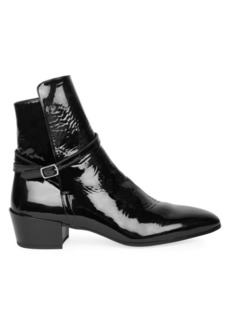 Yves Saint Laurent Clementi Patent Leather Block Heel Booties