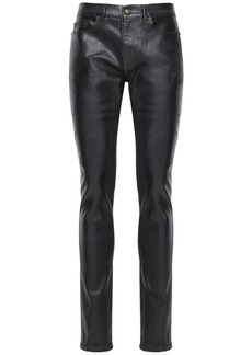 Yves Saint Laurent Coated Skinny Stretch Cotton Denim Jeans