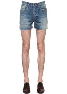 Yves Saint Laurent Cotton Denim Shorts W/ Metal Eyelets