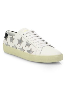 Yves Saint Laurent Court Classic Metallic Star Leather Sneakers