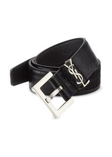 Yves Saint Laurent Croc-Embossed Leather Belt