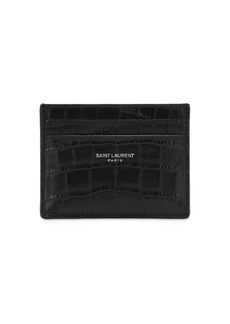 Yves Saint Laurent Croc Embossed Leather Card Holder