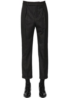 Yves Saint Laurent Cropped Wool Lurex Trousers