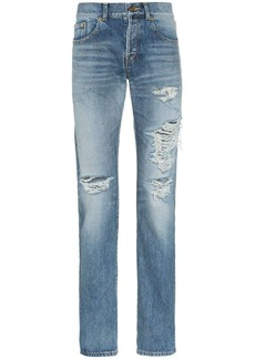 Yves Saint Laurent distressed slim-fit jeans