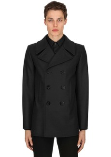 Yves Saint Laurent Double Breasted Wool Cloth Peacoat