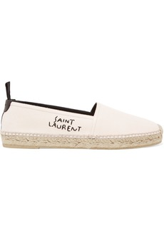 Saint Laurent Logo-embroidered leather-trimmed canvas espadrilles