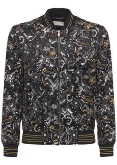 Yves Saint Laurent Embroidered Satin Bomber Jacket