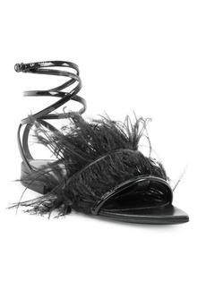 Saint Laurent Era Feather Ankle Strap Flats