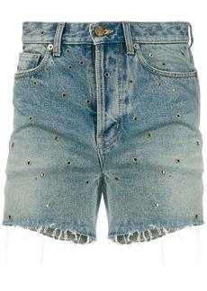 Yves Saint Laurent eyelet denim shorts