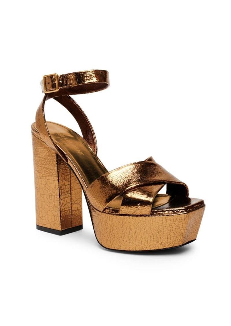 511ad86c9b3 Saint Laurent Farrah Metallic Leather Platform Ankle-Strap Sandals ...