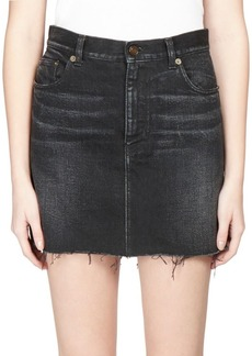 Saint Laurent Frayed Denim Mini Skirt