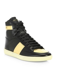 Yves Saint Laurent Court Classic Metallic Leather High-Top Sneakers