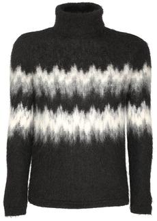 Yves Saint Laurent Intarsia Mohair Blend Turtleneck Sweater