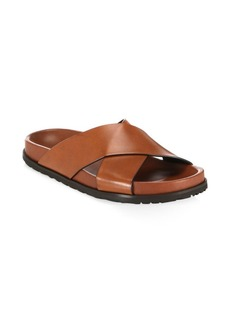 Saint Laurent Jimmy Crisscross Leather Flat Sandals