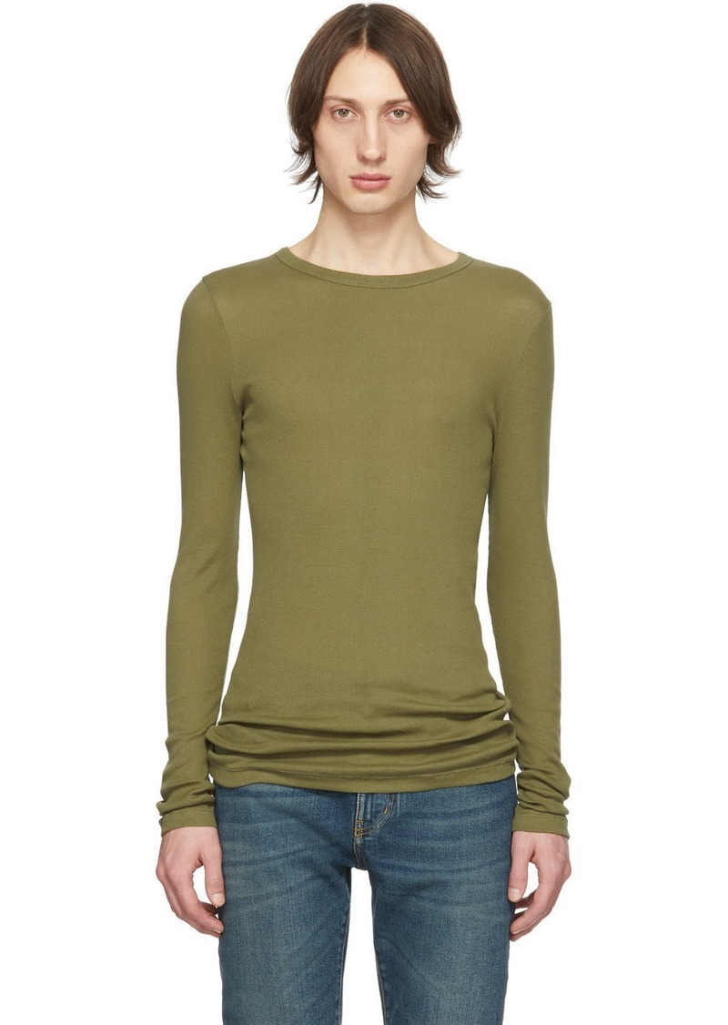 Yves Saint Laurent Khaki Ribbed Jersey T-Shirt