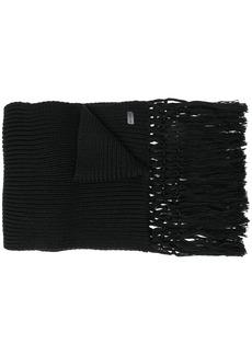 Yves Saint Laurent logo patch fringed scarf